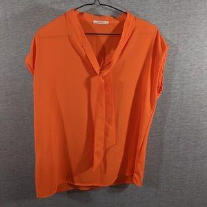Promod Orange Crinkle Tie Top